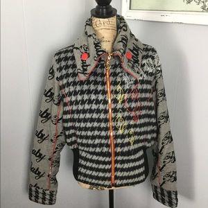Baby Phat XL black gray deco retro hip hop jacket
